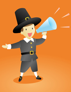 Thanksgiving Pilgrim Announcement Guy - Vector illustration of a Thanksgiving pilgrim wearing a traditional outfit making an important announcement with a megaphone. - Message, Messenger, Commentator, Holiday, Thanksgiving, Captain Smith, Pilgrim, Period Costume, Traditional Clothing, Costume, Leadership, Brown, Human Hair, Posing, Creativity, Men, Little Boys, Black, Gray, Hat, Suit, Clothing, Screaming, Shouting, Smiling, Pep Talk, Political Rally, Protest, Public Speaker, Announcement Message, Incentive, Motivation, motivating, Marketing, Historic World Event, Presentation, Showing, Discovery, Exhibition, Directing, Holding, Megaphone, Orange, Sound Wave