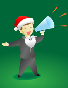 Christmas Announcement Guy - Vector illustration of a business man wearing a Santa hat and beard making an important announcement with a megaphone. - Event, Special, Important, Message, Messenger, Commentator, Green, Leadership, Brown, Human Hair, Posing, Creativity, Men, Little Boys, Black, Gray, Business, Suit, Clothing, Blue, Necktie, Screaming, Shouting, Smiling, Pep Talk, Political Rally, Public Speaker, Announcement Message, Incentive, Motivation, Marketing, Journalist, Presentation, Showing, Discovery, Directing, Holding, Megaphone, Orange, Sound Wave, Professional Occupation, Expertise, Cheerful