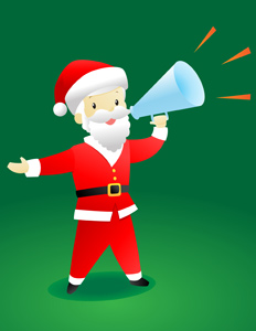 Christmas Announcement Santa - Vector illustration of (a rather thin) Santa Claus making an important Christmas announcement using a megaphone. Ho Ho Ho! - Message, Messenger, Commentator, Christmas, Santa Claus, Slim, Thin, Leadership, White, Posing, Creativity, Men, Red, Suit, Clothing, Screaming, Shouting, Smiling, Pep Talk, Political Rally, Protest, Public Speaker, Announcement Message, Incentive, Motivation, motivating, Marketing, Historic World Event, Journalist, Presentation, Showing, Discovery, Directing, Holding, Megaphone, Orange, Sound Wave, Cheerful, Happiness, Leading, Showing Off, Beckoning