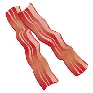 Bacon Clipart - Simple vector illustration of bacon.  Need we say more? - bacon