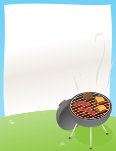 BBQ Announcement! - Vector illustration of a BBQ grill with a background ready for your own words! Let's have a barbecue! - Backyard BBQ, Backyard Barbeque, BBQ Flyer Template, BBQ Background, BBQ Anouncement, BBQ Flyer Background,  Birthday BBQ, BBQ Party, BBQ Invitation, BBQ Invitation Template, BBQ Invite, Barbeque Invite, Summer BBQ, Summer BBQ Background, Barbeque Background, Barbeque Flyer, Vector, Cartoon, Black, Barbecue Grill, Barbecue, Coal, Smoke, Hot Dog, Hamburger, Burger, Cheese, Cheeseburger, Flyer, Front or Back Yard, Document, Paper, Summer, Party, Fun, Food, Grilled, Cooking, Outdoors, Day, Gourmet, Food And Drink