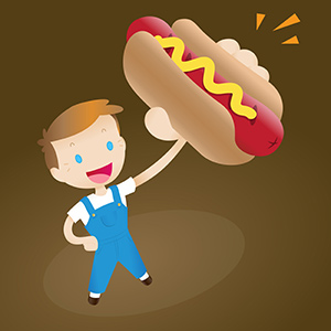 Boy Holding a Hot Dog - Cute retro-style vector illustration of a young boy in overalls holding up a juicy, delicious-looking hot dog with mustard in the air. - cute,retro,young,boy,blue,overalls,holding,up,juicy,delicious,hot dog,mustard