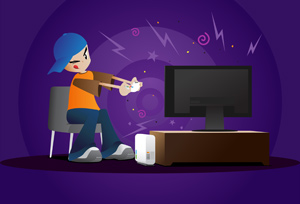 Boy Playing Video Games - Vector illustration of a young boy focused on a TV as he plays video games. Have fun! - Bad Grades, Punishment, Flat Screen, Lcd TV, Purple, Rudeness, One Person, Solitude, Loneliness, Little Boys, Toy, Video Game, Television, Addiction, Night, Fun, Playing, Concentration, Focus, Technology, Homework, grounded, House, Child, Brat