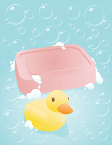 Bubbly Soap - Vector illustration of a soapy sudsy pink bar of soap with a cute rubber ducky in a bubbly looking environment. - Lightweight, Blue, Pink, Soap Sud, sudsy, Bar Of Soap, Bathroom, Hygiene, Body Care, Wet, Cute, Fun, Rubber, Rubber Duck, Yellow, Orange, Beak, Bubble, Ornamental Ducks