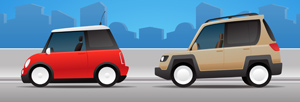 Cartoon Cars - Vector illustration of two cartoon cars waiting for motorists to drive them. Hop in! - Red, Beige, Brown, Two Objects, Car, Stationary, Street, City, Urban Scene, Cartoon, Cute, Empty, Nobody, Waiting, Open, Window