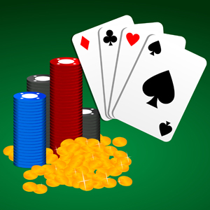 Casino Chips & Playing Cards - Vector illustration of multicolored casino poker chips and gold coins with playing cards displaying all four card suits. - multicolored,casino,poker,chips,playing,cards,clubs,hearts,spades,diamonds,money,gold,coins,clipart,icon,avatar