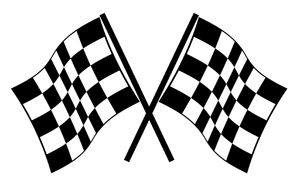 Checkered Flags - Vector illustrations of checkered flags ready to be used in your winning composition! - Winning, Checkered Flag, Number One, Waving, Black and White, Clipart, Two Items