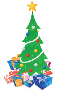 Christmas Tree with Presents - Vector illustration of a shimmering decorated Christmas tree with lots of colorful gifts under it.  Ho, ho, ho, Merry Christmas! - shimmering,decorated,green,Christmas,tree,colorful,gifts,under,Merry Christmas,clipart,icon,avatar