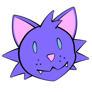 "Cute Kitty Head - Simple vector illustration of a cute kitty head. The cat says, ""Meow!"" - cute, blue, kitty, anime, head, whiskers, pink, ears, nose, clipart, furry, teeth, adorable, cuddly, soft, fluffy"