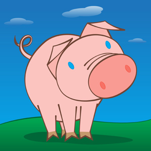 Cute Happy Pig - Vector illustration of a cute, happy pig in a green field with a clear blue sky.  His interest is piqued by something in front of him.  What is he looking at? - cute,happy,pink,pig,big,nose,snout,peculiar,piqued,interested,curious,head,tilted,blue,eyes,green,field,clear,sky,clouds,clipart