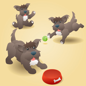 Cute Puppy Dog - Vector illustration of a cute brown puppy terrier dog in three different poses. Have fun! - Terrier, Pets, Canine, Friendship, Dog Food, Vector, Three Animals, Brown, Dog, Waving, Retrieving, Begging, Waiting, Animal Tongue, Food, Red, Empty, Cheerful, Happiness, Cute, Fun