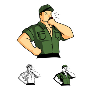 Drill Sergeant Blowing a Whistle - Semi-retro style illustration of a drill sergeant blowing a whistle. Colors can be changed to represent a different type of uniform or skin color. - Motivation, Green, Macho, Muscular Build, Cruel, Inspiration, Support, willpower, Dedication, Toned Image, Exercising, Repetition, Routine, Instructor, Coach, 1940-1980 Retro-Styled Imagery, Whistling, Whistle, Sergeant, Posing, Descriptive Color, 1950s Style, Vector, Military Camp, Drill, Blowing, Strength, Confidence, Courage, Army, Armed Forces, Military, Camping, Sport, Sports Training, Punishment, Obedience, Officer, Healthy Lifestyle