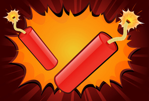 Dynamite! - Vector illustrations of dynamite sticks with lit fuses ready for your EXPLOSIVE message! - Bright, Red, Orange, Yellow, Bomb, Explosive, Dynamite, Exploding, Stick, Sparks, Burning, Heat, Fire, Weapon, Igniting, Flame, Fuse