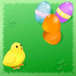Easter Eggs with Baby Chick - Vector illustration of Easter eggs beside a cute baby chick. One of the eggs is open. Gradient mesh used for eggs and baby chick. Happy Easter! - Blue, Orange, Purple, Magenta, Easter, Animal Egg, Eggs, Young Animal, Baby, Young Bird, Baby Chicken, On Top Of, Green, Grass, Frame, Cute, Fun, Humor, Opening, Open, Hatchling