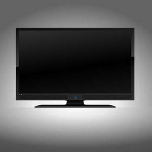 Flat Screen TV - Vector illustration of a front-facing black flat screen LCD, Plasma or L.E.D. Television ready for your image or other important message.  1920x1080 (1080p/1080i)
