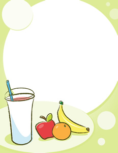 Fruit Smoothie Background - Vector illustration of a stylized smoothie cup filled with your favorite! Sitting next to an apple, orange and banana with a blank background ready for your own words! Perfect for handouts/bulletins/announcements/flyers etc. Light colors are used to save ink when printed! Have fun and stay healthy! MMmm - Smoothie, Apple, Banana, Lightweight, Green, Red, Orange, Orange, Yellow, Group of Objects, Fruit, Cup, Posing, Cartoon, Backgrounds, Blank, Healthy Lifestyle, Healthy Eating, Drink, Nature, Fun, Cute