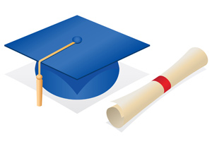 Graduate Cap and Diploma - Vector illustration of a blue graduate's cap and new rolled up diploma. Congrats, grad! - Vector, Blue, Graduation, Cap, Hat, Orange, Tassel, New, Rolled Up, Diploma, Success, Achievement, Secondary School Building, University, Award, Finishing, Aspirations, Education