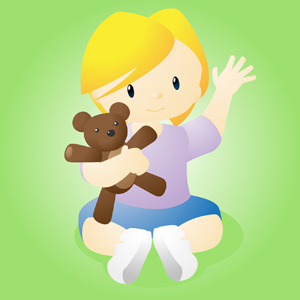Happy Child with Bear - Vector illustration of a happy little girl holding a stuffed teddy bear. - Happy, Child, Little Girl, Teddy Bear, Green Background, Innocence, Childhood, Children