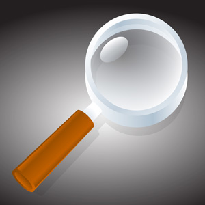 Magnifying Glass - Vector illustration of a magnifying glass with a transparent lens over a gray, shadowy background.  Do not use for burning ants.  Use for solving mysteries and reading fine print! - magnifying glass, transparent, lens, gray, shadowy, mystery, clue, fine print, details