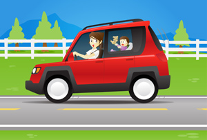 Mom and Baby in a Car - Vector illustration of a happy mother driving along a scenic road with a playful baby riding in the back. - Non-Urban Scene, Rural Scene, Smiling, White, Fence, Country Road, Cheerful, Happiness, Mother, Driving, Red, Car, Scenics, Street, Road, Playful, Baby, Teddy Bear, Riding, Rear View, Vector, Cartoon, Cute, Fun, One Parent, Family