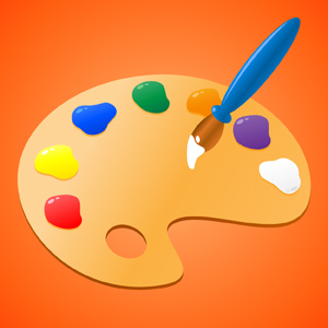 Paint Palette - Vector illustration of a painter's wooden paint palette with the colors of red, yellow, blue, green, orange, purple and white.  Paint brush also included.  Let's make art! - Painters, Wooden, Paint, Palette, Red Yellow, Blue, Green, Orange, Purple, White, Paint Brush