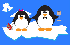 Penguins Just Married - Vector illustration of two happily married penguins on an iceberg. - Penguins, Love, Just Married, Iceberg, Cold, Cute, Flowers, Tuxedo, Water, Winter
