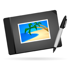 "Photo Album Guest Book - Vector illustration of a black hardcover photo album with an image of a simple beach scene on the cover.  A pen or marker is next to the guest book to signify that the book can be signed by your friends, family or guests.  ""Beach scene"" is grouped and can easily be removed to replace with your own photo! - Black, Hardcover, Photo, Album, Simple, Beach, Scene, Cover, Pen, Marker, Sign, Autograph, Friends, Family, Guests, Wedding, Quinceanera, Mitzvah, Event, Memories"