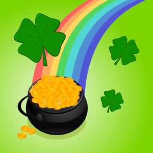 Pot O' Gold - Vector illustration of a black pot of gold at the end of a rainbow with four-leaf clovers around it. Happy St. Patrick's Day! - St. Patrick's Day, Gold, Pot, Rainbow, Four Leaf Clover, Green, Gleaming