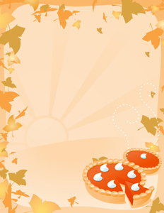 Pumpkin Pie Background - Vector illustration of two pumpkin pies with an Autumn leave border over a light sunrise/sunset background. Leaves are on separate layer for easy removal if desired. Ready for your own words. Perfect for Fall/Autumn/Thanksgiving flyers/bulletins/handouts/stationary/etc. Have fun - Autumn, Thanksgiving, Pumpkin Pie, Two Objects, Orange, Brown, Pastry Crust, Pie Filling, whip cream, On Top Of, Leaf, Frame, Backgrounds, Dessert
