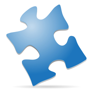 Puzzle Piece - Simple vector illustration of a blue puzzle piece standing on its corner to give it a 3D effect.  Can be used to symbolize autism awareness and/or special education. - blue,puzzle,piece,standing,corner,3D,symbol,autism,awareness,special education,children,child,spectrum,clipart,icon,avatar