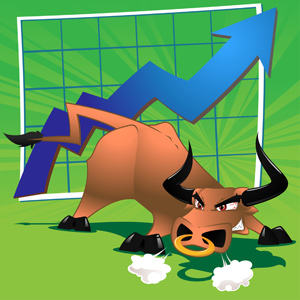 Raging Bull Market - Vector illustration of a bull in front of a graph with an upwards trend to represent a bull market. - Furious, Cartoon, Green, Blue, Arrow Sign, Brown, Bull, In Front Of, Graph, Diagram, Moving Up, Making Money, Stock Market, Bull Market, Snorting, Nose Ring, Sharp, Anger, Aggression, Sore Eyes, Investment, Currency