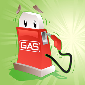 Gas is Scared! - Vector illustration of a trembling gas pump looking behind him. What's he worried about?? - Worried, Sullen, Danger, Green, Gasoline, Fuel and Power Generation, Distraught, Cartoon, Anxiety, Shivering, Red, Fun, Cute, Looking Over Shoulder