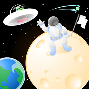 Spaceman On the Moon - Vector illustration of a spaceman standing on the moon with an alien flying above him in a U.F.O. - Space, Spaceman, Earth, Moon, Flag, Alien, UFO, Waving, Universe, Galaxy, Space Travel