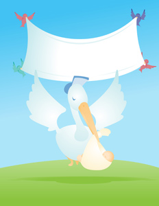 Stork with Baby Banner - Vector illustration of a stork peacefully delivering a newborn baby with sparrows holding up a banner behind the stork. - Baby Girls, Baby Boys, Caucasian, White, Stork, Delivering, Certified Mail, Baby, Serene People, Tranquil Scene, peacefully, Landing, Flying, Grass, Red, Blue, Green, Sparrow, Bird, Holding, Showing, Placard, Banner, Sign, Announcement Message, Message, Little Girls, Son, Daughter, Child, Offspring