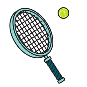 Tennis Racket & Ball - Simple vector illustration of a light blue tennis racket with a green tennis ball.  Perfect for your tennis clipart needs! - light,blue,tennis,racket,ball,simple,icon,clipart