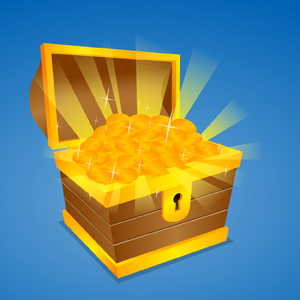 Treasure Chest - Vector illustration of an open wooden treasure chest, trunk or box filled with shiny, glimmering gold coins!  Rays of light can be seen emanating from the coins. - Wooden, Treasure, Chest, Trunk, Box, Filled, Shiny, Glimmering, Gold, Coins, Light, Rays, Emanating