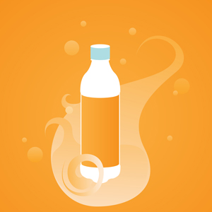 Trippy Beverage - Vector illustration of a plain plastic soda or water bottle over a trippy orange background.  Far out, man. - plain,soda,plastic,water,bottle,blank,trippy,orange,background,clipart,template,icon,earth day,go green