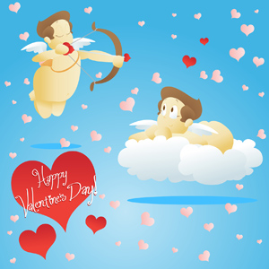 Valentine's Day Cherub - Vector illustration of a St. Valentine's day cherub happily going about his day shooting love arrows at people and gazing up into the sky. - St. Valentine's Day, In Love, Happy, Cherub, Cupid, Bow and Arrow, Cloud, Floating, Flying, Aiming, Gazing, Smiling