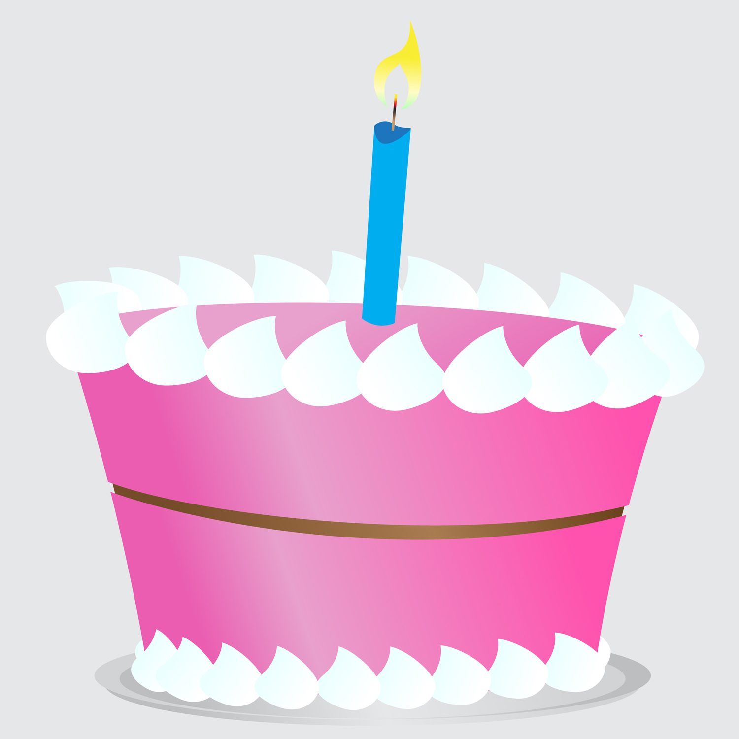 Birthday Cake Clipart Simple Vector Illustration Of A Pink Frosted