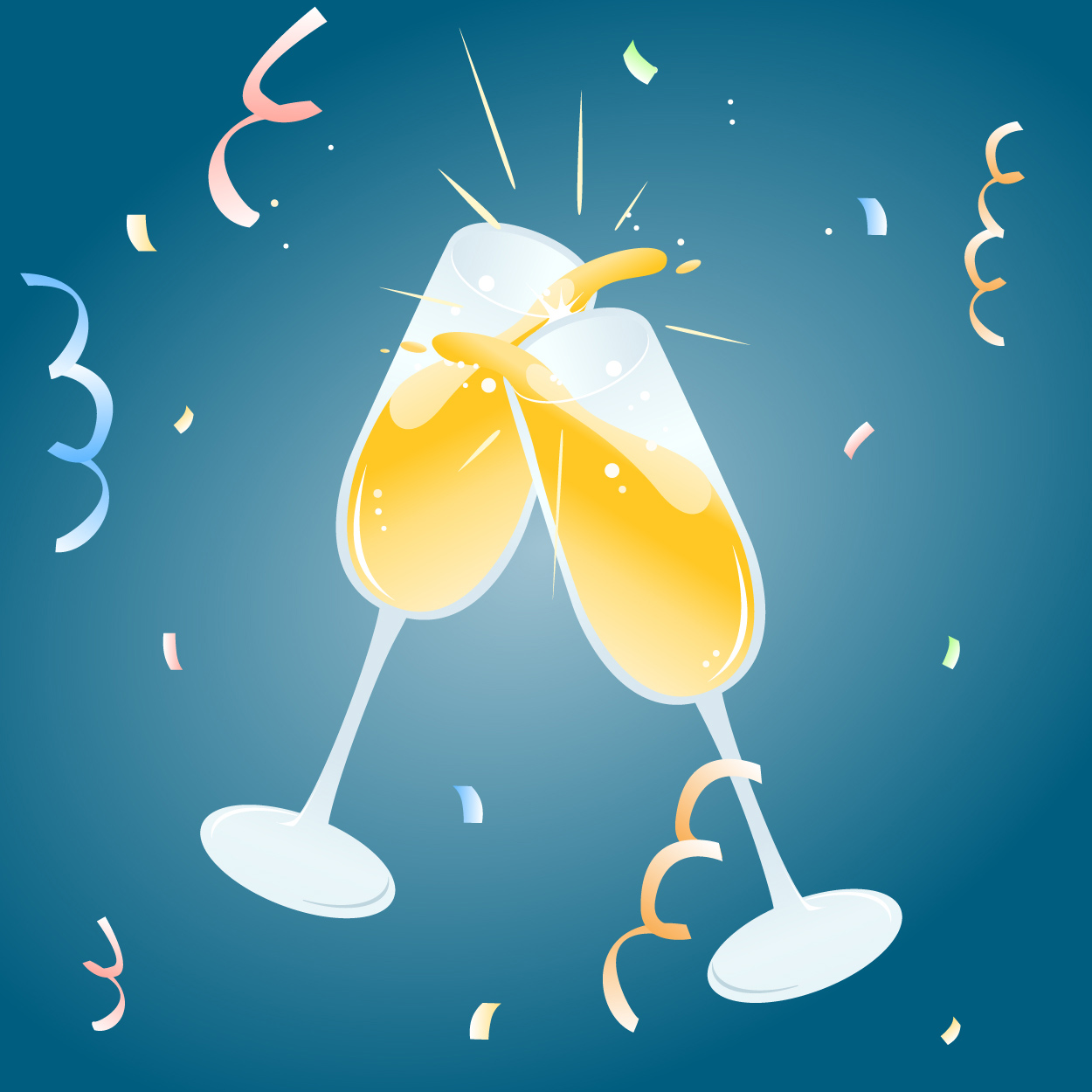 Celebration Toast Vector illustration of two champagne glasses