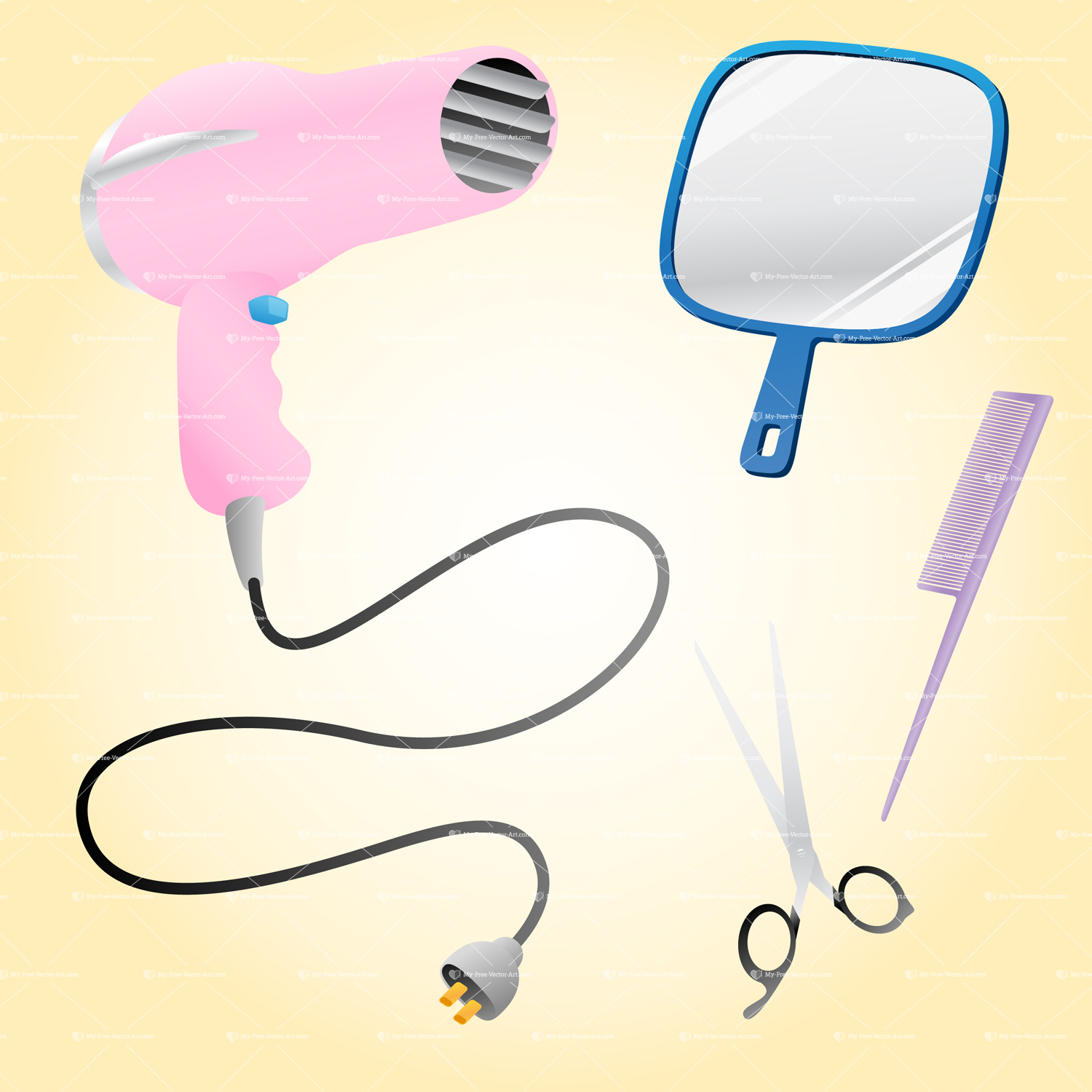 illustration featuring a group of salon hair styling tools; Pink hair