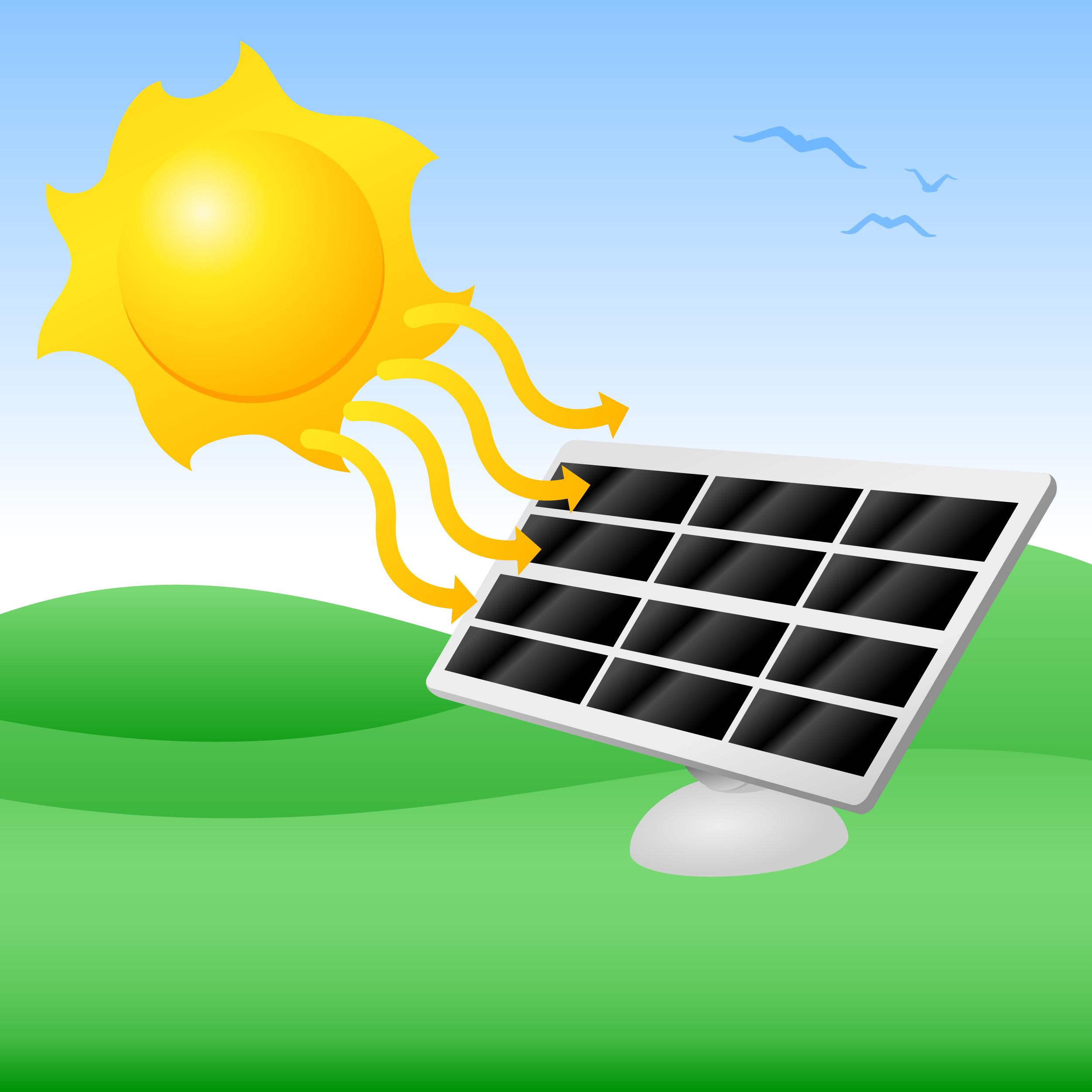 Cartoon Solar Panels Solar energy - vector